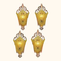 Set of 4 Vintage Art Deco Sconces Original Red Bronze Finish Lights (ANT-869)