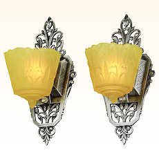 Slip Shade Sconces Pair of Vintage Art Deco Wall Lights by Lincoln (ANT-877)