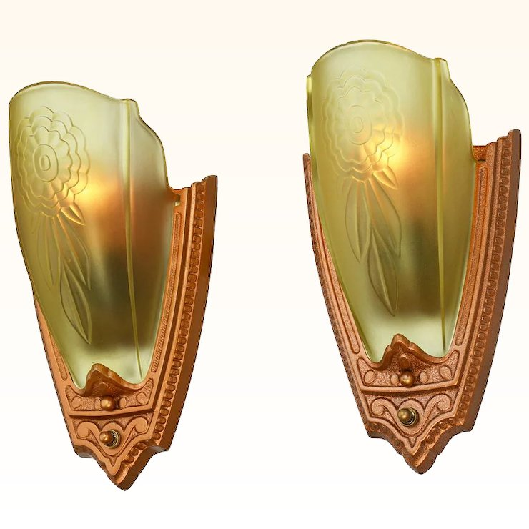 1930s Pair Art Deco Wall Sconces Glass Slip Shade Lights by Puritan ...