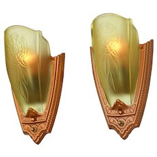 1930s Pair Art Deco Wall Sconces Glass Slip Shade Lights by Puritan (ANT-881)