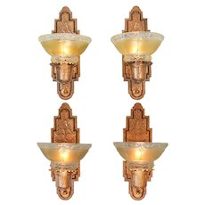 Set of 4 Original Red Bronze Finish Sconces Circa 1910s Wall Lights (ANT-885)