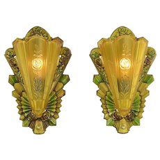 Art Deco Wall Sconces Pair of Vintage Polychrome Slip Shade Lights (ANT-899)