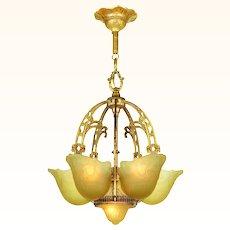 Vintage 1930s Art Deco Chandelier Slip Shade Ceiling Light Fixture (ANT-904)