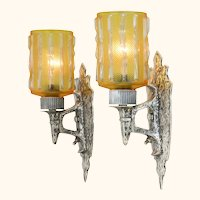 Pair of Hammered Pewter Arts and Crafts Sconces