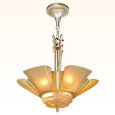 Art Deco Streamline 6 light chandelier by Mid-West Mfg (ANT-910)