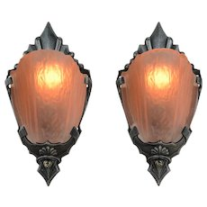 Pair of Slip Shade Art Deco Sconces by Markel (ANT-912)