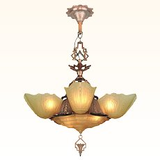Art Deco 6 Shade Chandelier by Markel (ANT-913)