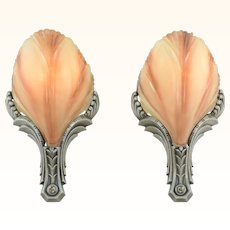 Art Deco Slip Shade pair of Sconces by Mid West Circa 1930 (ANT-915)