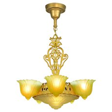 American Art Deco 6 Shade Chandelier by Consolidated Glass (ANT-(916)