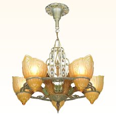 Unusual five shade chandelier attributed to Riddle circa 1935 (ANT-917)