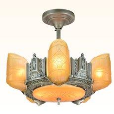 Scarce American Art Deco 6 shade, chandelier by Estellite (ANT-922)