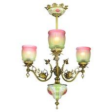 Antiqued Brass Finished Three Light Edwardian Chandelier (ANT-925)