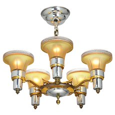 Art Deco Streamline 5 Light Chandelier by Mid-West Mfg (ANT-931)