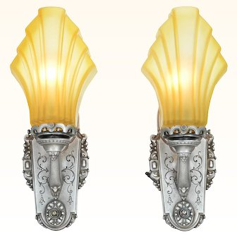 ANT-933  Pair of American Art Deco Sconces with Heavy Cast Glass French Shades