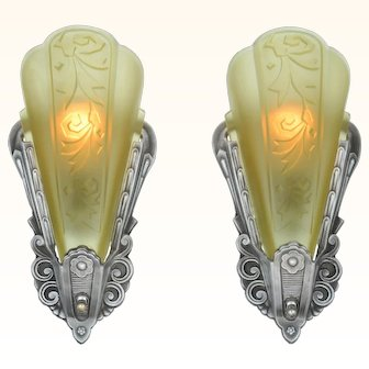 Very Collectable Pair of Art Deco Slip Shade Sconces by Globe (ANT-935)