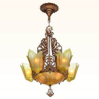 Antique Restored Red-Bronzed Finish Art Deco Slip Shade Chandelier (ANT-937)