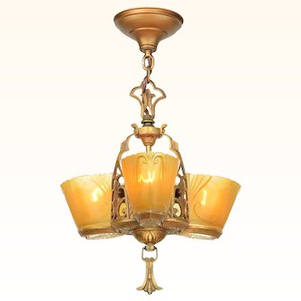 Great Art Deco 3-Shade Chandelier by Virden (ANT-939)