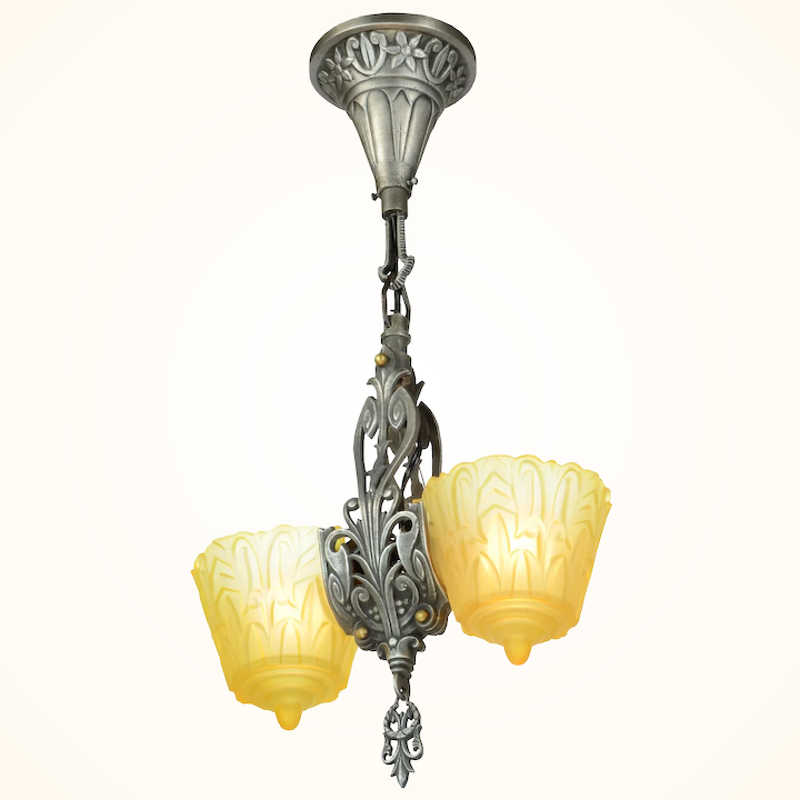 Art Deco Slip Shade Pendant By Lincoln Mnf Ant 941