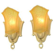 Art Deco Pair of Slip Shade sconces by Mid West Mnf ANT-951