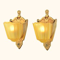 Pair of American Art Deco Slip Shade Sconces ANT-953