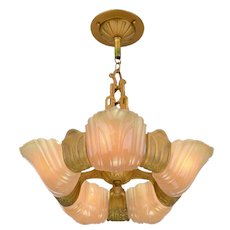Art Deco 5 Shade Wide-Slip-Shade Chandelier by Markel ANT-954