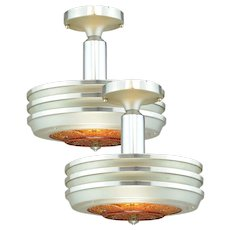 Very Nice PAIR of Art Deco Streamline Metal and Glass Light Fixtures C. 1930+ ANT-958