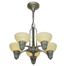 Art Deco Streamline 5 Light Chandelier with Custard Colored Shades ANT-965
