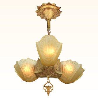 Art Deco 3 Shade Pendant by Markel ANT-967