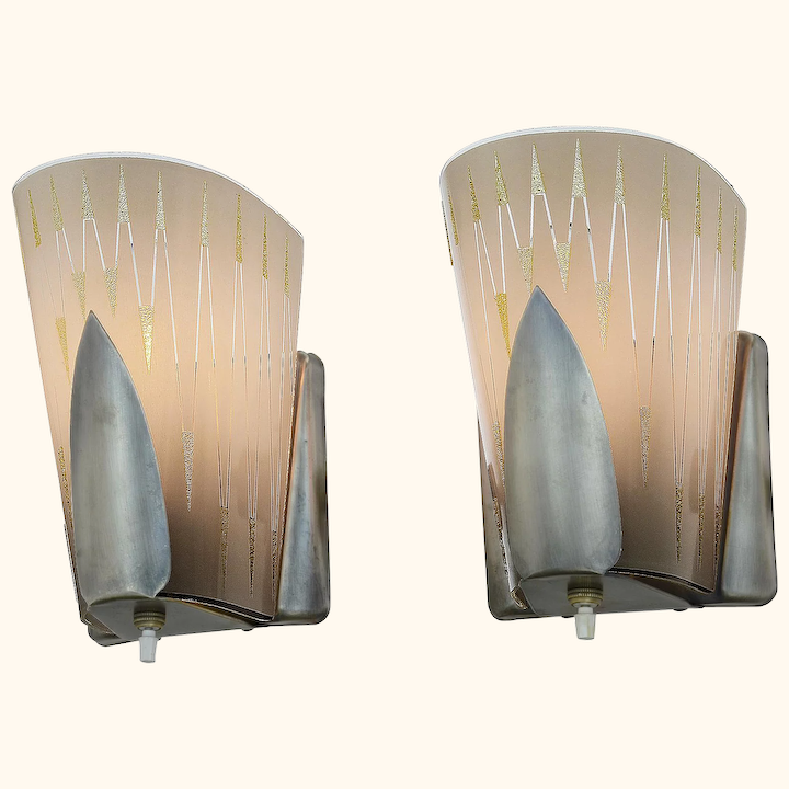 Mid Century Modern Pair Of Wall Sconces