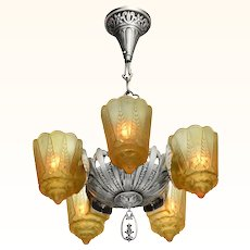 American Art Deco 5 Slip Shade Chandelier by Lincoln ANT-976
