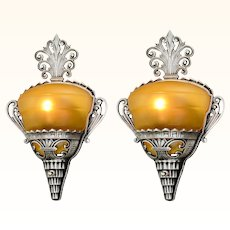 Unusual Pair of Art Deco Slip Shade Sconces with Amber Shades ANT-977