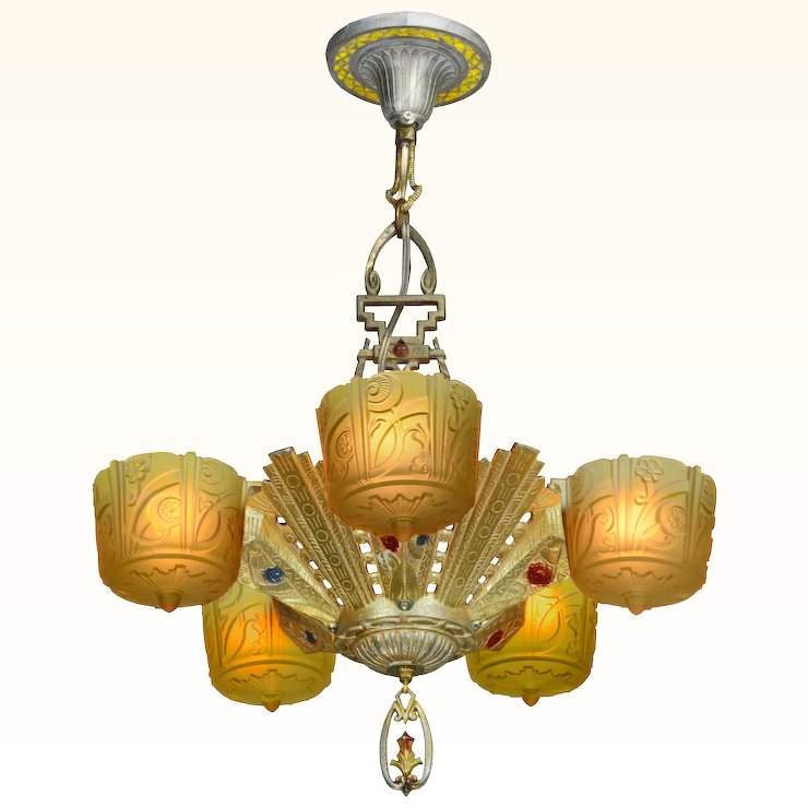 Antique Art Deco Slip Shade Chandelier Made by Lincoln ANT-978 - Antique Art Deco Slip Shade Chandelier Made By Lincoln ANT-978