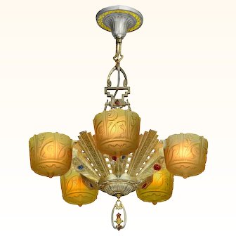 Antique Art Deco Slip Shade Chandelier Made by Lincoln ANT-978