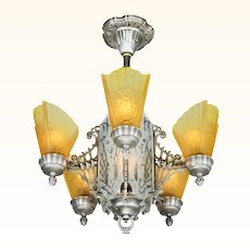 Art Deco Slip Shade Chandelier with Cut Glass Center Panels  ANT-981