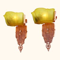 Pair of Art Deco Wide-Slip-Shade Sconces by Markel ANT-994
