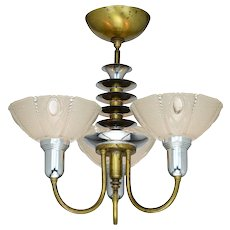 Antique Art Deco Three Light Chandelier with Original Shades ANT-996