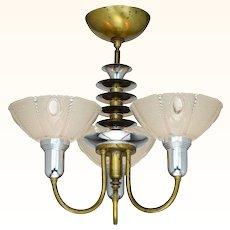 Antique Art Deco Three Light Chandelier with Original Shades ANT-996