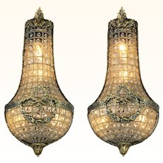 Lovely Pair of Older French Crystal Wall Sconces ANT-998