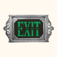Theater or Commercial Fancy Solid Cast Aluminum 1920s Style Exit Sign EXT-420G