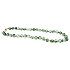 """Vintage Estate Custom Mings of Honolulu 14K Graduated Hand Knotted 16."""" Inch Translucent Moss Green, Light Green White and Tan Jade Bead Necklace"""