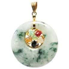 Vintage Estate 14KT Translucent Green White Jade with Jade Accents Pendant