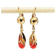 Vintage Estate 1930's 18KT Gold Front Hook Coral Drop Earrings
