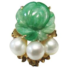 Vintage Estate 14K Gold Carved  Jade and High Luster Cultured Pearl Accent Ring