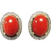 Vintage Estate 14KT Yellow Gold with White Gold Accent Salmon Red Coral and Diamond Omega Backs Earrings