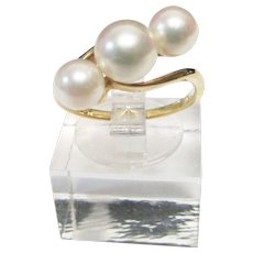 Vintage Estate Mid Century Mikimoto 18K Gold High Luster 3 Cultured Pearls Bypass Ring