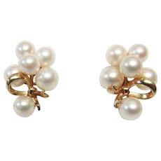 Vintage Estate Mid Century Classic Mikimoto 14K 12 High Luster Cultured Pearl Earrings