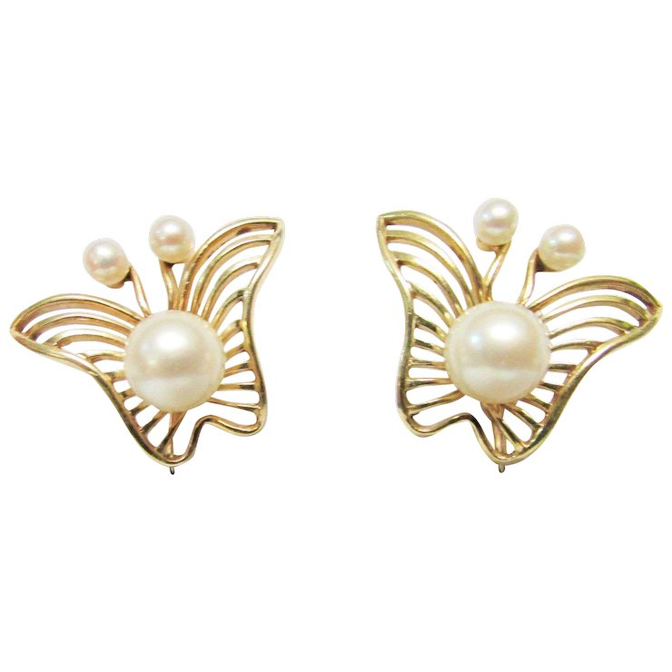 Vintage Estate Unusual Mid Century Modernist Mikimoto 14k 6 High Er Cultured Pearl Erfly Earrings