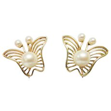 Vintage Estate Unusual Mid Century Modernist Mikimoto 14K 6 High Luster Cultured Pearl Butterfly Earrings