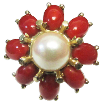 Vintage Estate Mid Century 14KT Red Coral and Cultured Pearl Ring