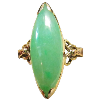 Vintage Estate Mid Century 14K Gold Translucent Marquise Cut Green Jade Ring